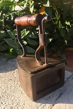 More details for antique cast flat iron no2 hot coal heavy collectible book end mahogany wood