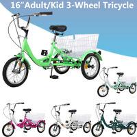 16inch Adult/Kid 3-Wheel 1Speed Tricycle Bicycle Trike w/Shopping&Pet Basket USA