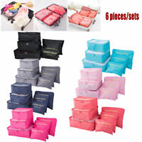 6Pcs Clothes Underwear Socks Packing Cube Storage Travel Luggage Organizer Bag