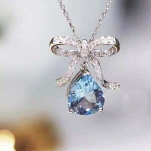 14k White Gold Over 4ctPear Cut Aquamarine & Diamond Pendant 18''Chain Necklace