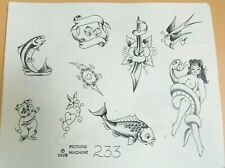 Vintage -1978 Picture Machine Spaulding Rogers Tattoo Flash Sheet 233 Nude Snake