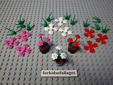 Lego Plant Lot: Pink, White & Red Flowers w/Green Stems Girl's Flower Garden