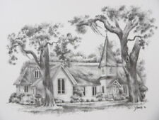 Lot of 50 Drawings Of Christ Church On St Simons Island 14 x 11 Artist Smith