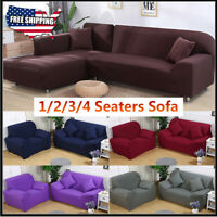 US Stretch Chair Sofa Covers 1 2 3 4 Seater Sofa Protector Couch Cover Slipcover