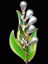 PEARL LONG GREEN WHITE BELL LILY OF THE VALLEY FLOWER PIN BROOCH JEWELRY 2.5""