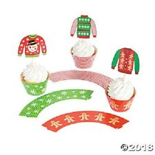 12 CHRISTMAS UGLY SWEATER CUPCAKE PICKS AND WRAPPERS TOPPERS JUMPERS FOOD