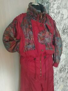 Vintage 90's EVF Rodeo exclusive ski snowsuit, size 36 pants and jacket burgundy