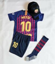 New 2019 Kids Soccer Jersey Barcelona Home #10 Messi Top+Short  Kit + Cap Socks