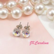 6mm AURORA BOREALIS STUD EARRINGS - made w/ Swarovski Crystals - TINY EARRINGS