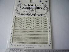 3D Nail Tip Art stickers decals transfer Silver Glitter Dots Arch & Lines B129