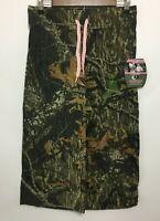 Mossy Oak Womens Capris Pant Camo Break Up Pattern Pink Drawstring Stretch - NWT