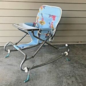 Vintage 1970s Hedstrom Co Baby Bouncy Seat Tray Chair Adjustable Back Folds Flat