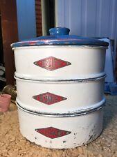 Vintage 1950s Australian Villa Ware Aluminium Kitchen Canisters Cake Scone Stack