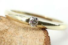 Gold Ring 585 Diamant Solitär 14K Gelbgold 1 Brillant 0,13ct Si1 H Größe 55