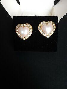 AVON HEART OF MY HEART PIERCED EARRINGS W/SURGICAL STEEL POSTS 1995 NOS
