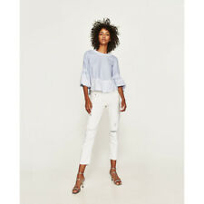 Zara Discontinued Cute Striped Blue/white Blouse With Contrast Lace Details