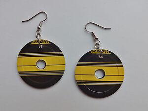 45rpm Record Earrings Jack White Third Man Records yellow black logo vinyl