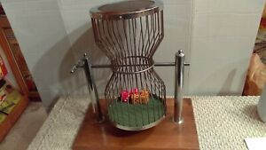 "Vintage Chuck A Luck Las Vegas 15"" Dice Tumbler Cage Dual Post & Wooden Base"