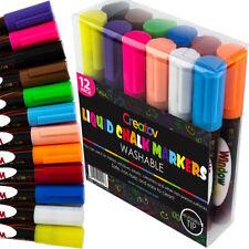 Liquid Chalk Markers (12pc) Erasable Chalkboard Pen for Blackboard (USA)