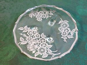 Beautiful Footed Clear Glass Candy/Mint Dish w/Decorative Silver Overlay Design