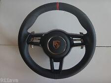 PORSCHE 991 GT3 RS 997.2 991 TURBO S BLK LEATH STEERING WHEEL RED TOP FLAT BLK