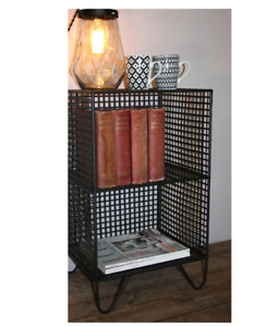 2 Tier Living Room Square Industrial Style Mesh Side Table Nightstand Modern