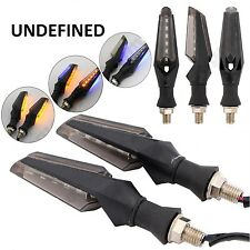 4pc Motorcycle Bike 12 LED Turn Signal Indicator Light Dual Color Blue and Amber