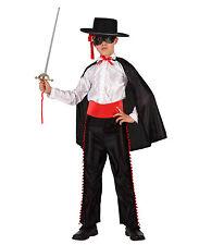 Costume Zorro da Bambino 3/4 anni Moschettiere MASCHERATO Nero Carnevale Atosa