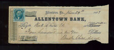 OLD CHECK W/ STAMP - Sc#R13b From Allentown Bank in PA 1863 CAT VALUE $350 -BBB