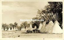 Blackfoot Native Indian Tepee Tipi, Old Cars (1920s) Rppc