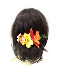 Orange Yellow Red Caribbean Flower Hair Comb Orchid Fern Leaf Tropical Clip 3571