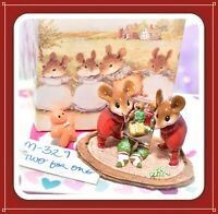 ❤️Wee Forest Folk M-329 Two for One Christmas Holiday Stocking Red TWIN Mice❤️