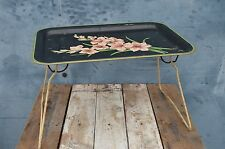 Vintage Mid Century Worcester Ware Folding Metal Bed TV Tray Lap Table - Floral