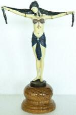 Art Deco Style Bronze Lady 'Scarf Dancer' - Signed DH Chiparus - Hand Painted