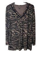 Dana Buchman Women's 3X Long Sleeve Sheer Lined Tunic Blouse NEW #B16