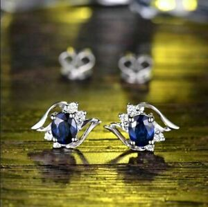 4Ct Oval Cut Blue Sapphire Diamond Solitaire Stud Earrings 14K White Gold Finish