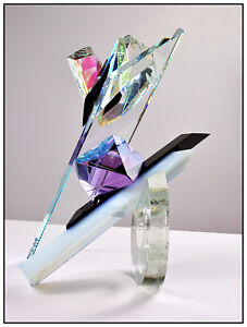 GRANT MILLER Original GLASS SCULPTURE Crystal Signed Large Modern Abstract Rare