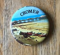 Vintage Cromer Norfolk Tin Badge Beach Scene Pier Boats FREE UK POST
