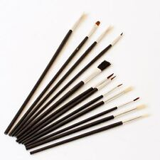 12 PC Artist Brushes Paint Brush Thin Small Tipped Large Flat Art Work Detail