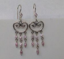 of 16 Pink Czs, Konder #755 Vintage Sterling Dangle Earrings with total