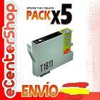 5 Cartuchos de Tinta Negra 18XL 1811 NON-OEM Epson Expression Home XP-302