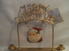 """Candle Holder Christmas Metal Hand Painted Santa W/Merry Christmas 13""""W x 11""""T"""