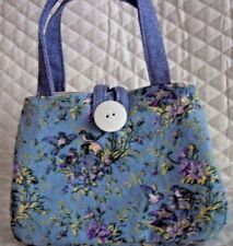 "Blue with Birds and flowers Little girl's purse,7"" X 5"" X 2"", Button to close"
