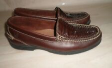 SPERRY TOP SIDER MEN BROWN WOVEN LEATHER SLIP ON MOCCASIN 9.5M