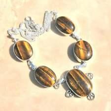 "Handmade Dorado de Tigre Ojo Piedra Preciosa Plata de Ley 925 Collar 19"" #N01698"