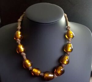 vintage musturd amber tone glass foil beads threaded knotted old necklace UK sel