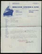 1940 Holland America Line Passenger Letter for Travel on SS Veendam