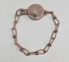 Vintage/Antique British Made Metal Padlock with Chain & Key   (3/1185)