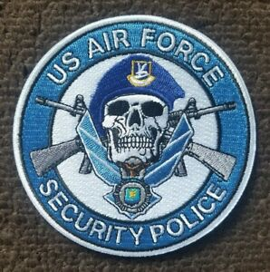 US AIR FORCE USAF SECURITY FORCES POLICE SKULL MILITARY PATCH