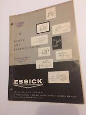 ESSICK model 66 Plaster Mixer parts list and Instructions